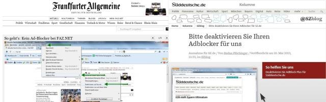 adblock FAZ - Süddeutsche