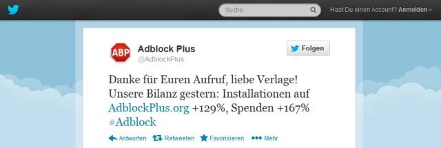 Adblock Plus Twitter - Erfolg der Adblock-Abstell-Kampagne der Verleger