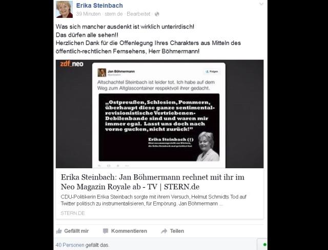 Steinbach - Antwort auf Böhmermann