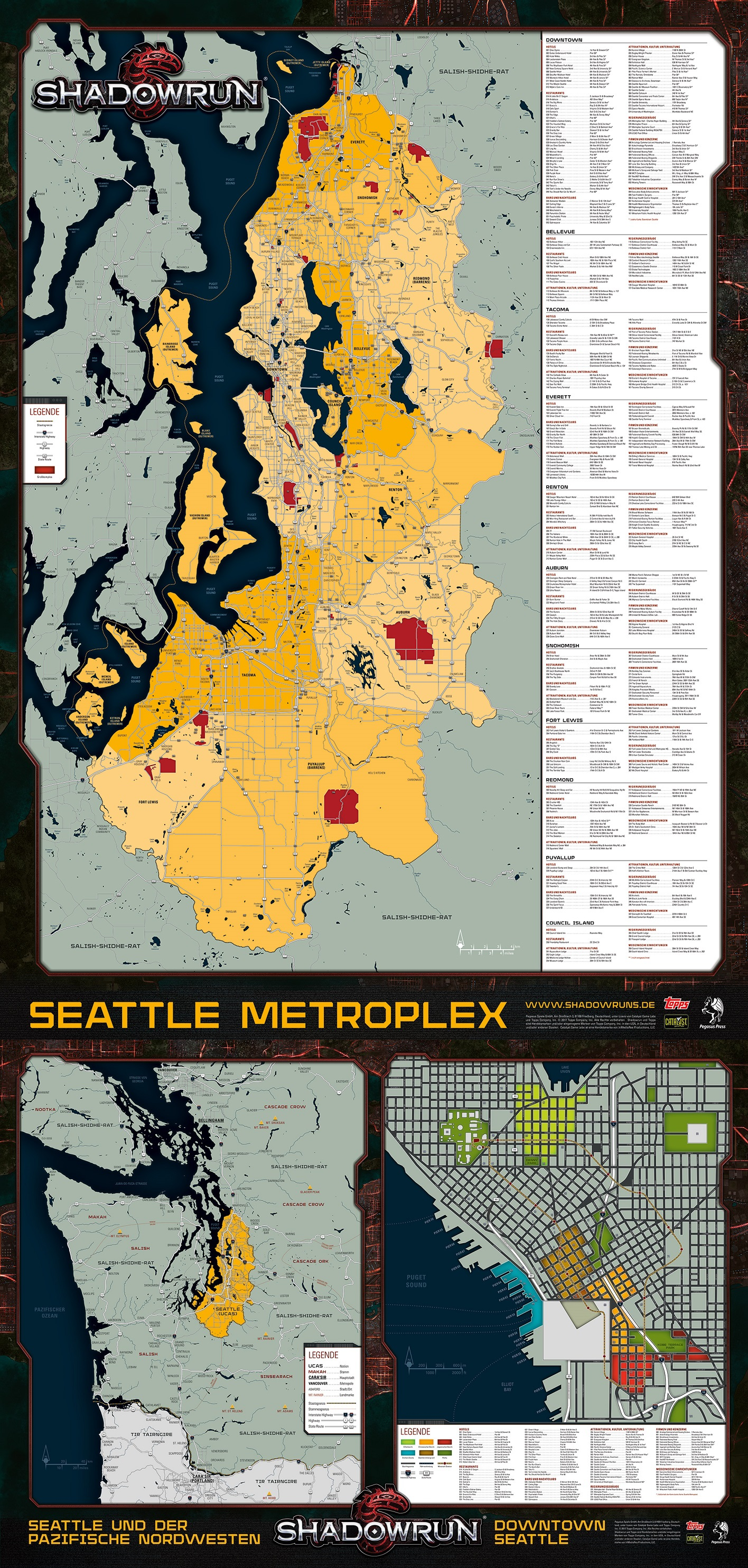 Preview: district map for the German Seattle box set : Shadowrun