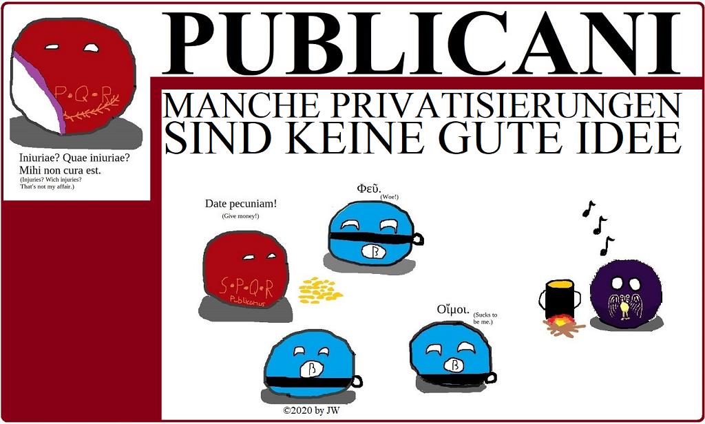 SPQRball - Publicani - Manche Privatisierungen sind keine gute Idee - Logo
