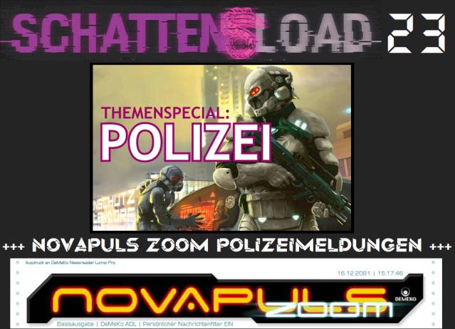 Schattenload 23 - Themenspecial Polizei plus Novapuls Zoom - Logo - Promo